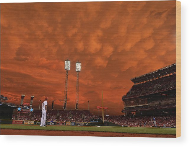 Great American Ball Park Wood Print featuring the photograph Starlin Castro by Jamie Sabau