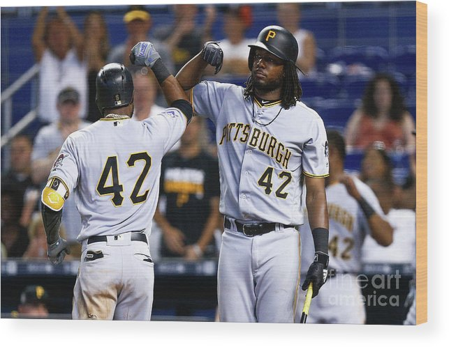 Three Quarter Length Wood Print featuring the photograph Starling Marte by Michael Reaves