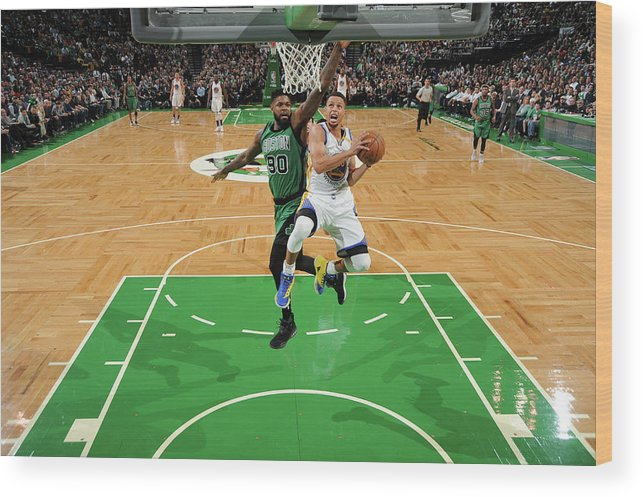 Nba Pro Basketball Wood Print featuring the photograph Stephen Curry and Gerald Green by Brian Babineau