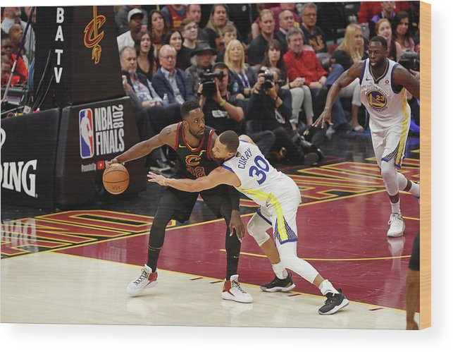 Playoffs Wood Print featuring the photograph Stephen Curry and Jeff Green by Mark Blinch