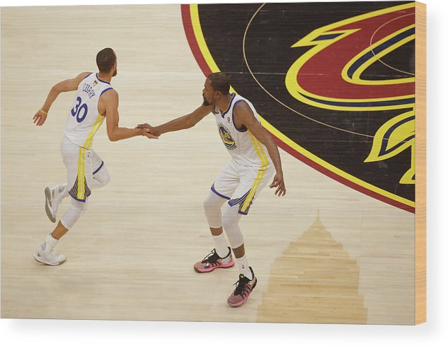 Playoffs Wood Print featuring the photograph Stephen Curry and Kevin Durant by Mark Blinch