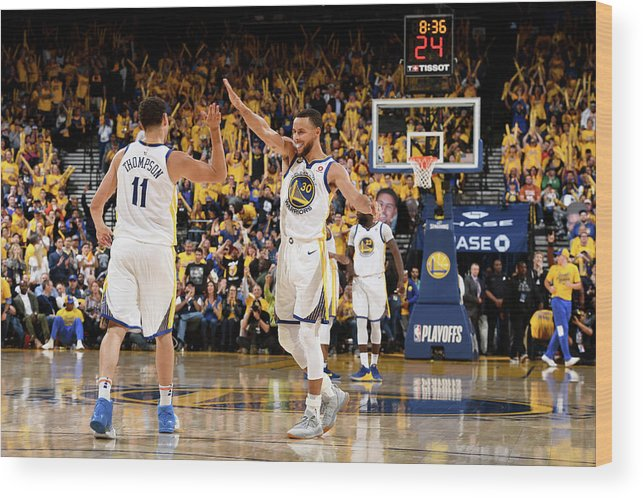 Playoffs Wood Print featuring the photograph Stephen Curry and Klay Thompson by Garrett Ellwood