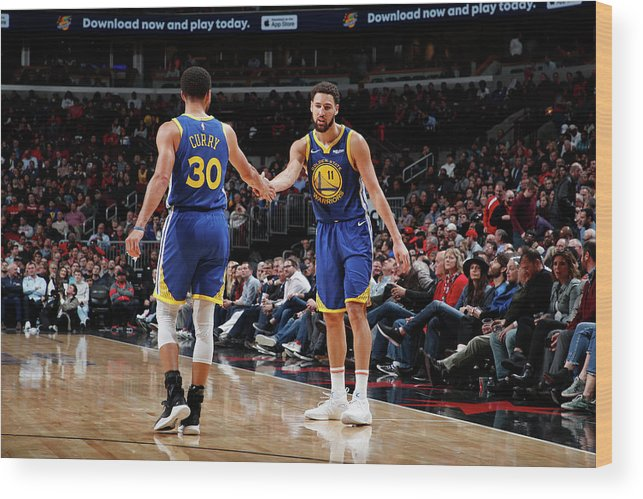 Nba Pro Basketball Wood Print featuring the photograph Stephen Curry and Klay Thompson by Jeff Haynes