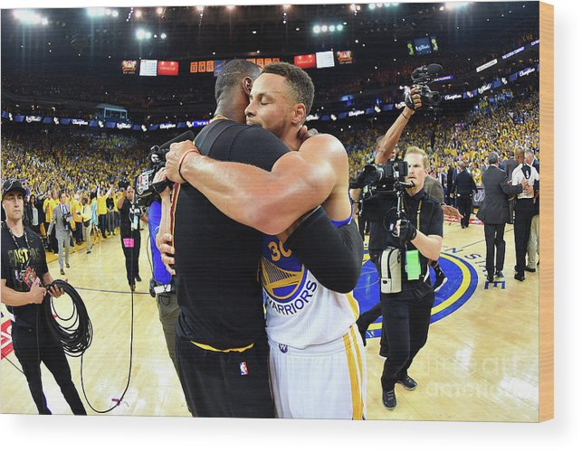 Playoffs Wood Print featuring the photograph Stephen Curry and Lebron James by Jesse D. Garrabrant