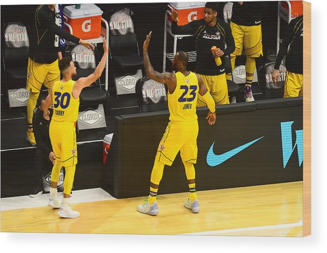 Atlanta Wood Print featuring the photograph Stephen Curry and Lebron James by Scott Cunningham