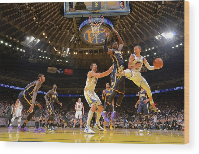 Nba Pro Basketball Wood Print featuring the photograph Stephen Curry and Roy Hibbert by Rocky Widner