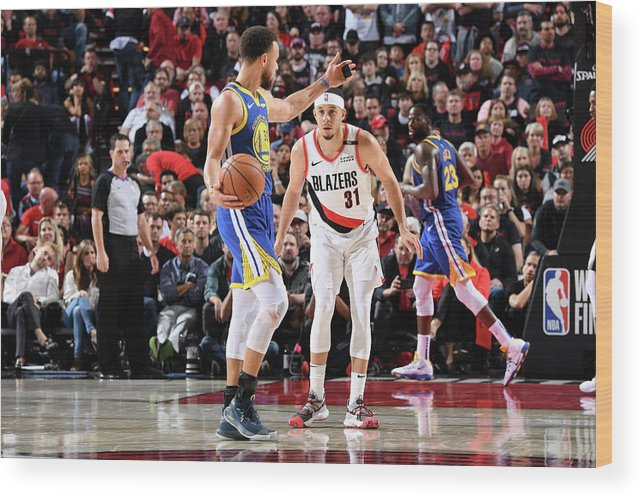 Nba Pro Basketball Wood Print featuring the photograph Stephen Curry and Seth Curry by Andrew D. Bernstein