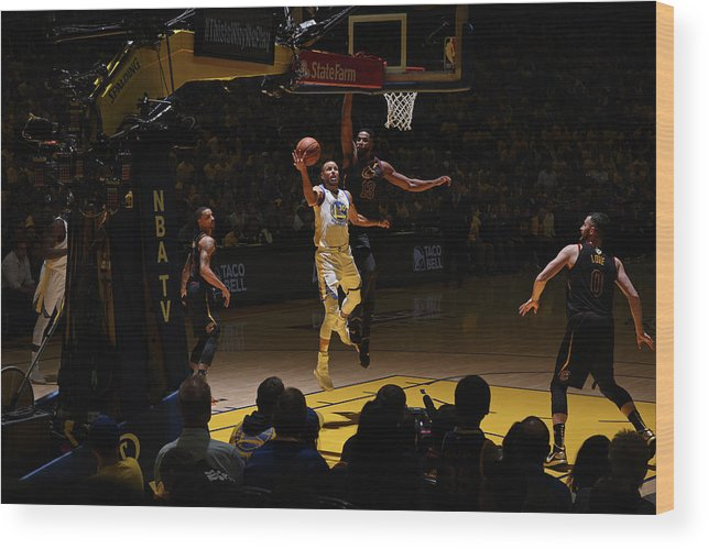 Playoffs Wood Print featuring the photograph Stephen Curry and Tristan Thompson by Garrett Ellwood