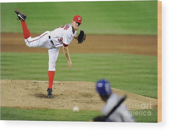 Stephen Strasburg Wood Print featuring the photograph Stephen Strasburg and Dee Gordon by Greg Fiume