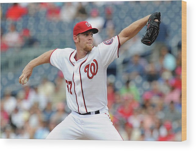 Stephen Strasburg Wood Print featuring the photograph Stephen Strasburg by Greg Fiume