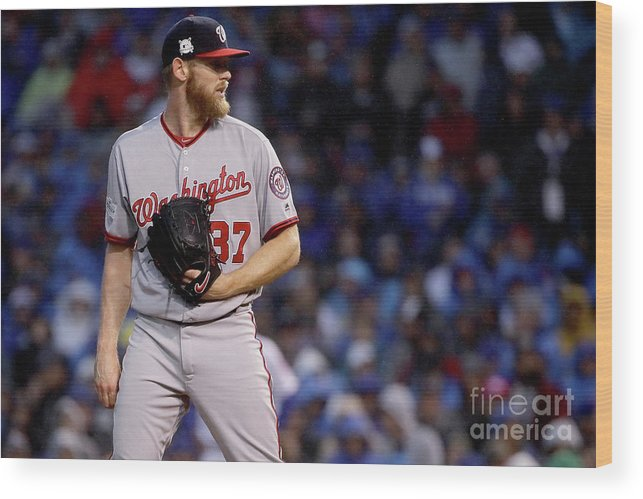 Three Quarter Length Wood Print featuring the photograph Stephen Strasburg by Jonathan Daniel