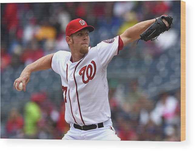 Working Wood Print featuring the photograph Stephen Strasburg by Patrick Smith
