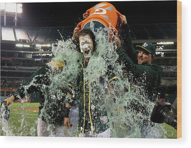 Three Quarter Length Wood Print featuring the photograph Stephen Vogt, Josh Reddick, And Billy Butler by Jason O. Watson