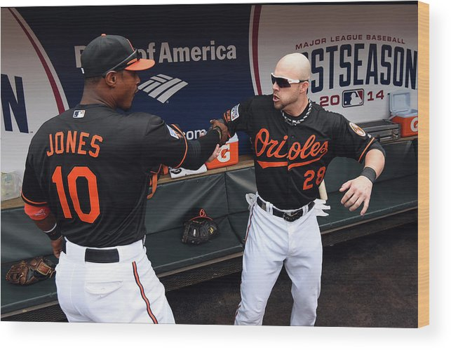 Game Two Wood Print featuring the photograph Steve Pearce and Adam Jones by Patrick Smith