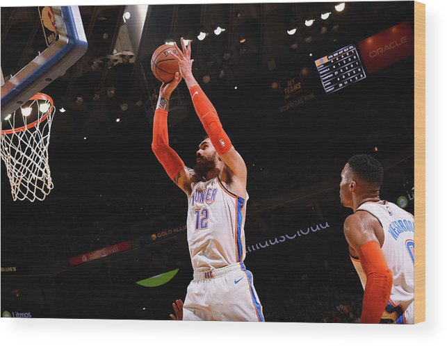 Nba Pro Basketball Wood Print featuring the photograph Steven Adams by Noah Graham