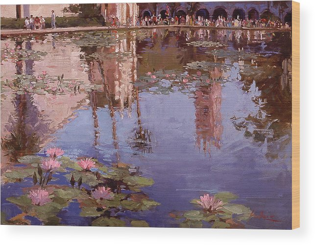 Water Lily Paintings Wood Print featuring the painting Sunday Reflections - Balboa Park by Betty Jean Billups