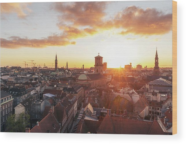 City Wood Print featuring the photograph Sunset above Copenhagen by Hannes Roeckel