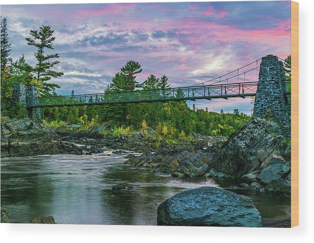 Bridge Wood Print featuring the photograph Swinging Bridge Sunset by Flowstate Photography