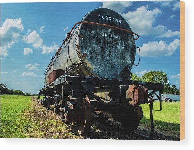 Smoke Wood Print featuring the photograph Tanker on Texas Central Railroad by Peyton Vaughn