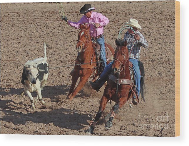 Cowboys Wood Print featuring the photograph Team Ropers by Bob Hislop