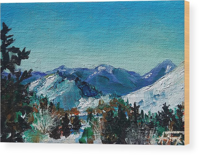 Tetons Wood Print featuring the painting Teton View by Allison Fox