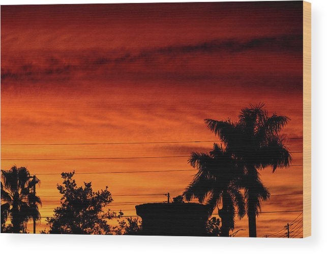 Sunset Wood Print featuring the photograph The Fire sky by Daniel Cornell