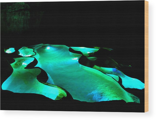 Standing Water Wood Print featuring the photograph The lighting bowls of Saint-Marcel's cave by Teocaramel