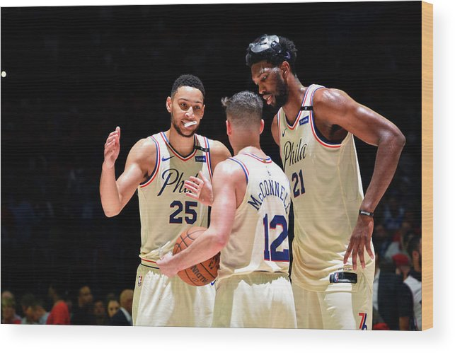 Playoffs Wood Print featuring the photograph T.j. Mcconnell, Ben Simmons, and Joel Embiid by Jesse D. Garrabrant