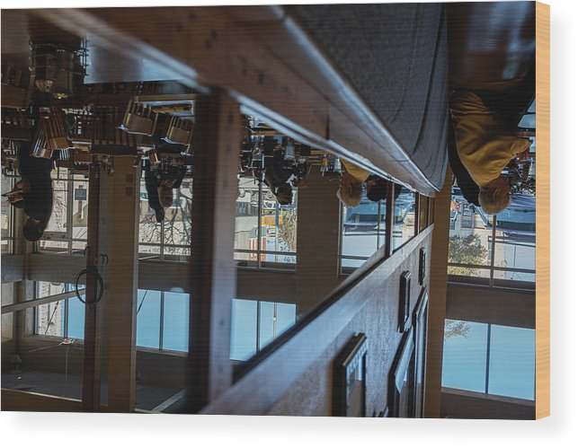 Reflections Eating Diner Food Mirror People Upside Down Wood Print featuring the photograph Tnarautser by Peyton Vaughn