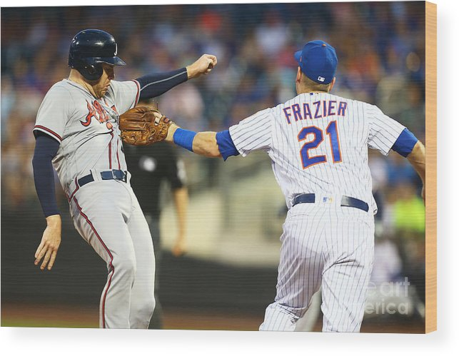 Three Quarter Length Wood Print featuring the photograph Todd Frazier and Freddie Freeman by Mike Stobe