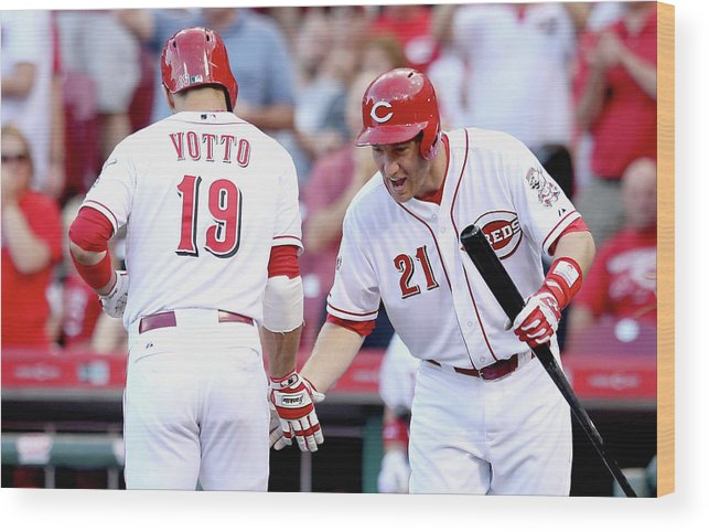 Great American Ball Park Wood Print featuring the photograph Todd Frazier and Joey Votto by Andy Lyons
