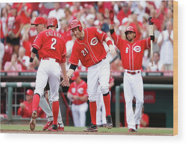 Great American Ball Park Wood Print featuring the photograph Todd Frazier, Homer Bailey, and Zack Cozart by Joe Robbins