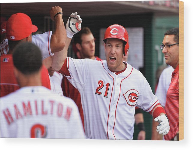 Great American Ball Park Wood Print featuring the photograph Todd Frazier by Jamie Sabau