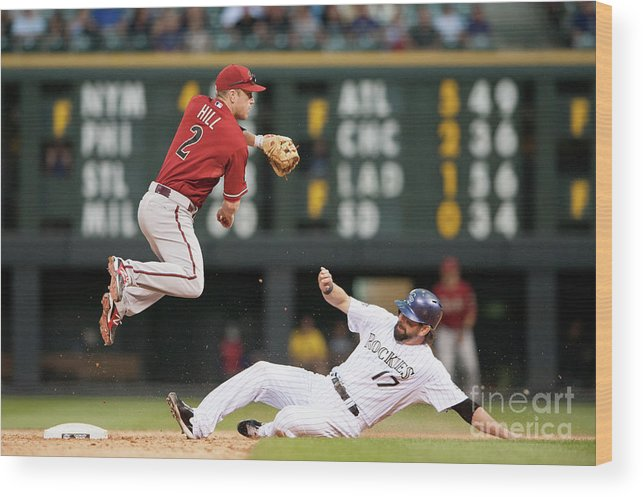 Double Play Wood Print featuring the photograph Todd Helton and Aaron Hill by Dustin Bradford