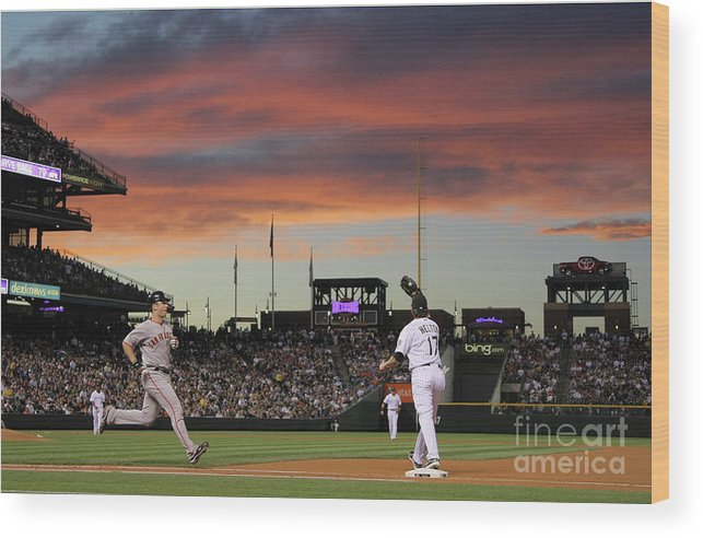 Todd Helton Wood Print featuring the photograph Todd Helton and Buster Posey by Doug Pensinger