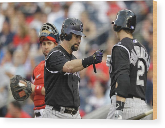 People Wood Print featuring the photograph Todd Helton and Troy Tulowitzki by Rob Carr