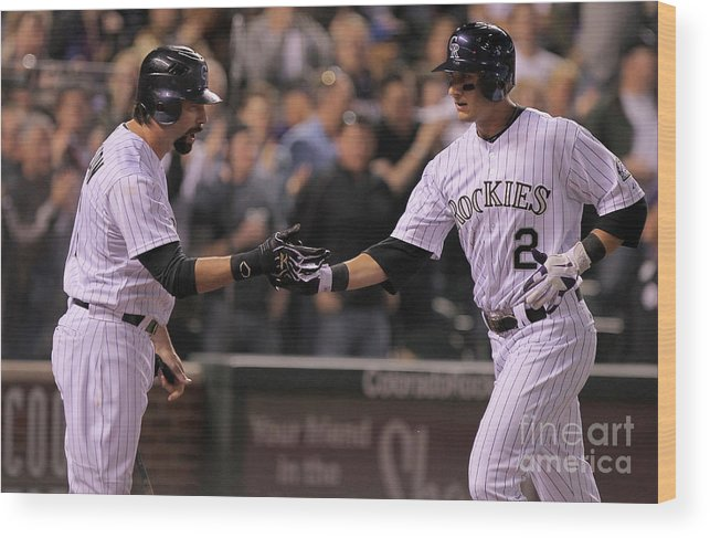 People Wood Print featuring the photograph Todd Helton, Clayton Kershaw, and Troy Tulowitzki by Doug Pensinger