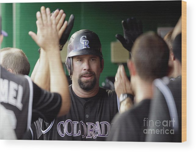 People Wood Print featuring the photograph Todd Helton by Rob Carr