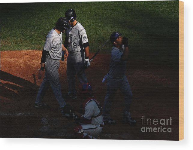 Playoffs Wood Print featuring the photograph Todd Helton, Yorvit Torrealba, and Ryan Spilborghs by Chris Mcgrath