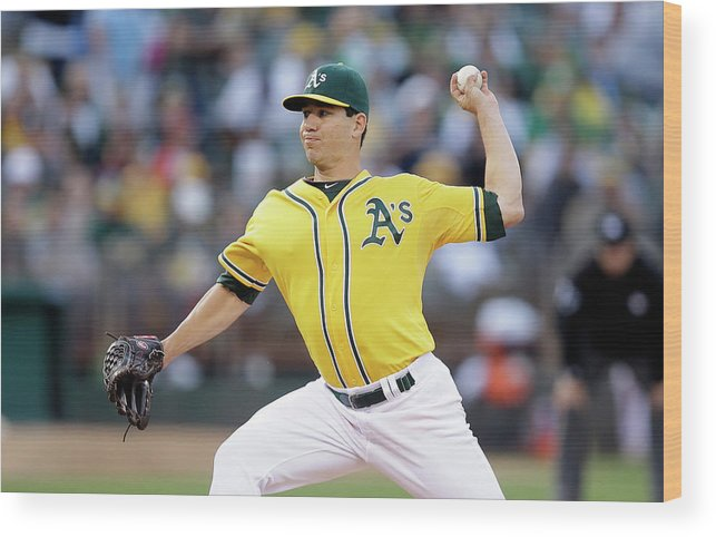 American League Baseball Wood Print featuring the photograph Tommy Milone by Ezra Shaw