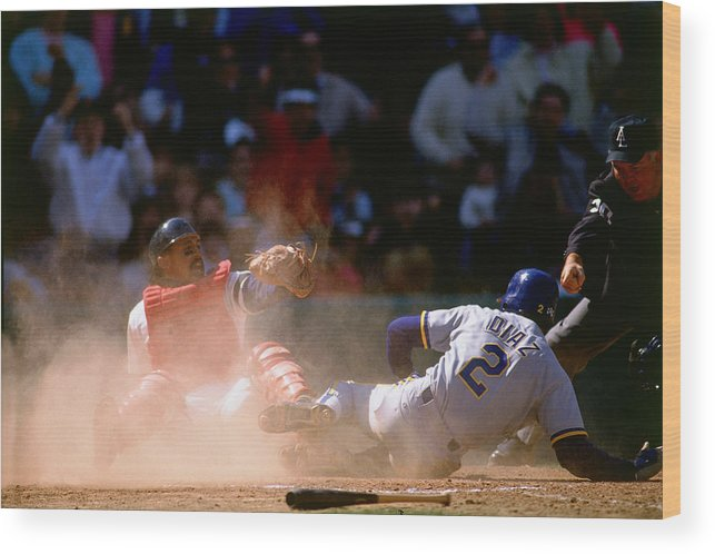 American League Baseball Wood Print featuring the photograph Tony Pena by Ronald C. Modra/sports Imagery