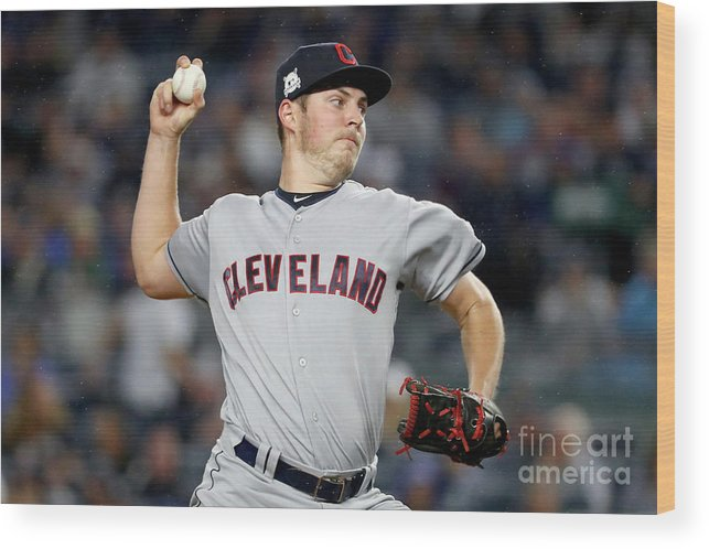 Three Quarter Length Wood Print featuring the photograph Trevor Bauer by Al Bello