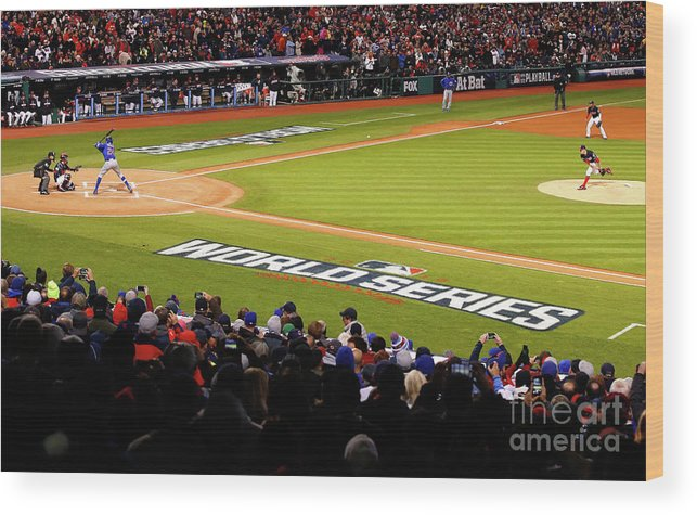 Game Two Wood Print featuring the photograph Trevor Bauer and Dexter Fowler by Gregory Shamus