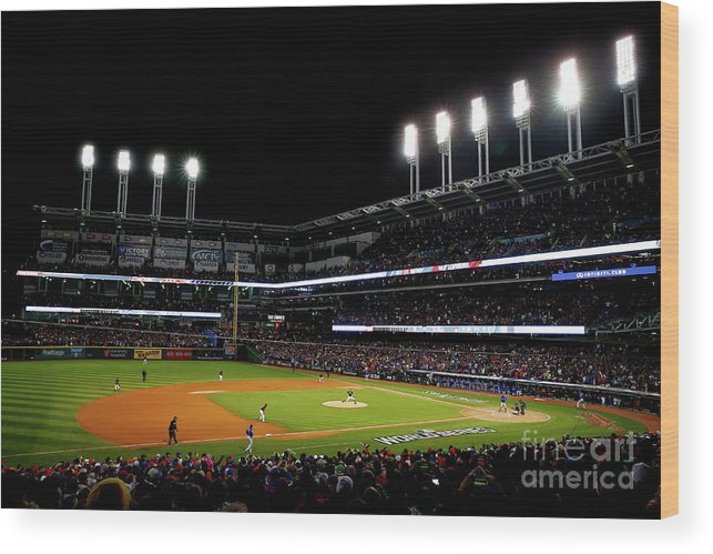 Game Two Wood Print featuring the photograph Trevor Bauer and Dexter Fowler by Jamie Squire