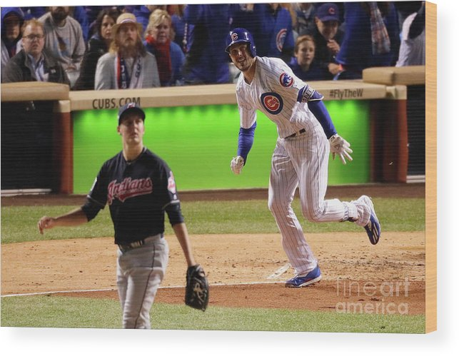 People Wood Print featuring the photograph Trevor Bauer and Kris Bryant by Jamie Squire