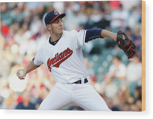 Three Quarter Length Wood Print featuring the photograph Trevor Bauer by David Maxwell