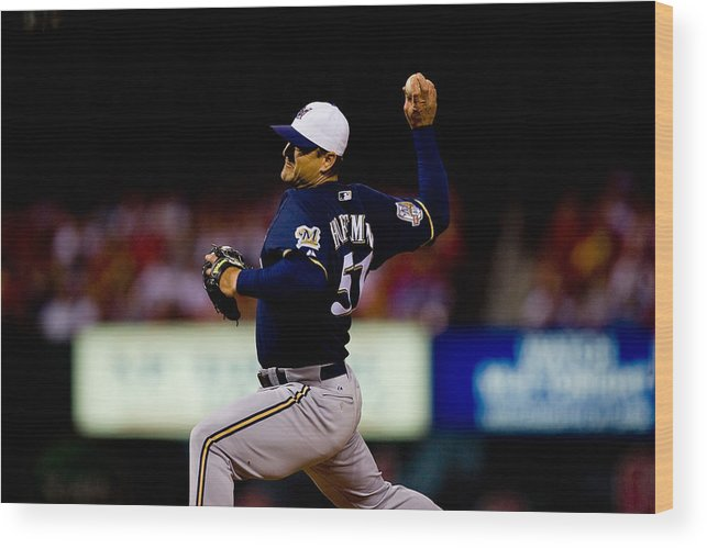 Relief Pitcher Wood Print featuring the photograph Trevor Hoffman by Dilip Vishwanat
