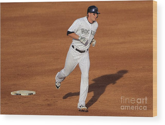 People Wood Print featuring the photograph Troy Tulowitzki and Chad Billingsley by Doug Pensinger