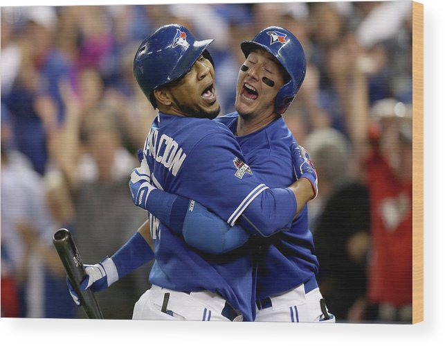 People Wood Print featuring the photograph Troy Tulowitzki and Edwin Encarnacion by Vaughn Ridley