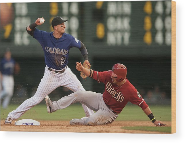 Double Play Wood Print featuring the photograph Troy Tulowitzki and Martin Prado by Dustin Bradford